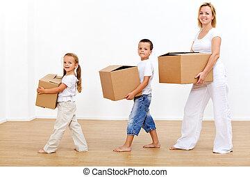 gezin, binnen zich beweegt, om te, een, nieuw huis