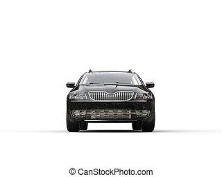 gezin, caravan, -, black , auto, vooraanzicht