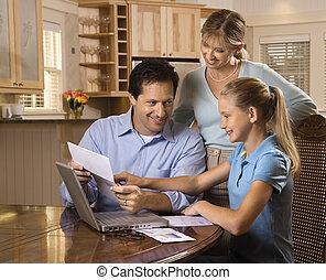 gezin, computer.