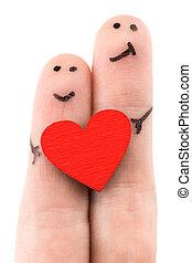 gezin, concept, -, een, man, en, een, vrouw, greep, de, rood hart, geverfde, op, vingers, en, vrijstaand, op wit, achtergrond