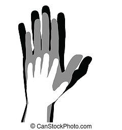 gezin, concept, met, moeder, vader en kind, handen