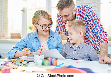 gezin, crafting, samen, thuis