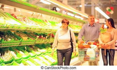 gezin, doen, shoppen