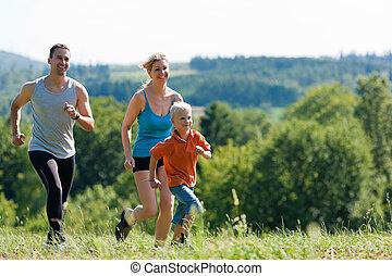 gezin, doen, sporten, -, jogging