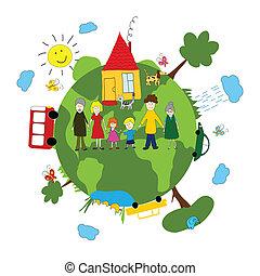 gezin, en, groene aarde