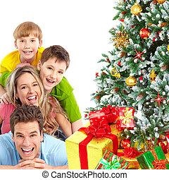 gezin, en, kerstboom