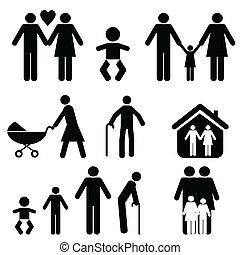 gezin, en, leven