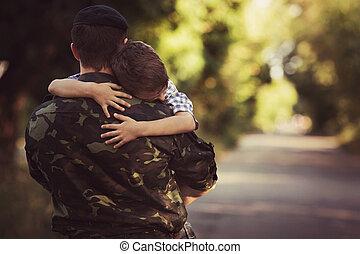 gezin, en, soldaat