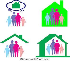 gezin, en, thuis, concept