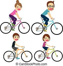 gezin, fiets, vrolijke