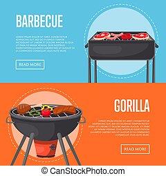 gezin, flyers, vleeswaren, feestje, barbecue, bbq