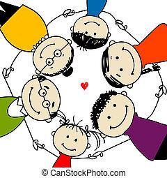 gezin, frame, ontwerp, samen, jouw, vrolijke