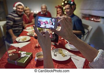 gezin, geheugens, van, kerstavond