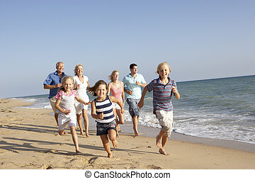 gezin, generatie, drie, verticaal, vakantie, strand