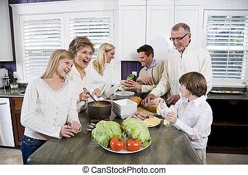 gezin, generatie, het koken, drie, etentje, keuken