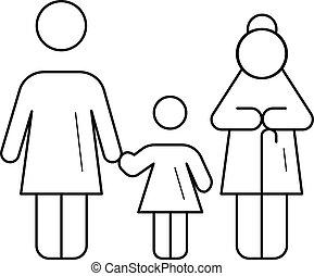 gezin, generatie, vector, lijn, icon.