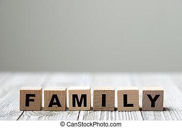 gezin, geschreven, hout blok, woord
