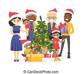 gezin, groot, biracial, boom., versiering, kerstmis