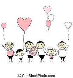 gezin, groot, pasgeboren, jarig, baby, kinderen, vrolijke