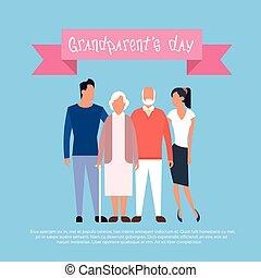 gezin, grootouders, groet, grootvader, grootmoeder, spandoek, dag, kaart, vrolijke