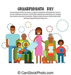 gezin, grootouders, groet, samen, amerikaan, afrikaan, spandoek, dag, kaart, vrolijke