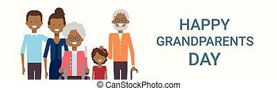 gezin, grootouders, groet, samen, amerikaan, groot, afrikaan, spandoek, dag, kaart, vrolijke