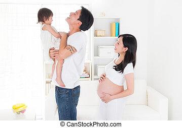 gezin, haar, chinees, zwangere , tijd, moeder, het genieten van