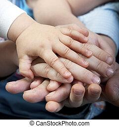 gezin, handen
