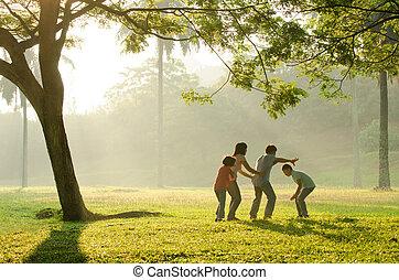 gezin, hebben, park, morgen, vroeg, aziaat, plezier, spelend