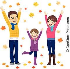 gezin, herfst, plezier