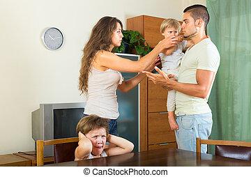 gezin, het bespreken, problemen