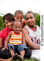 gezin, het glimlachen