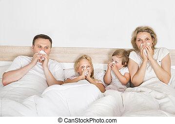 gezin, het liggen, bed, ziek