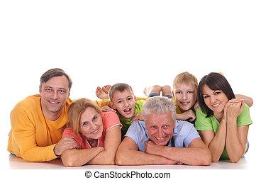 gezin, het liggen, vrolijke