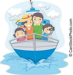 gezin, het reizen, door, scheeps