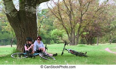 gezin, het rusten, in, zomer, park, met, bicycles