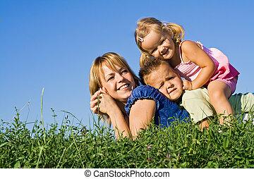 gezin, hoop, buitenshuis