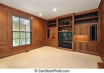 gezin, hout, kamer, cabinetry