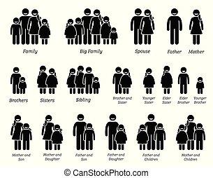 gezin, icons., mensen