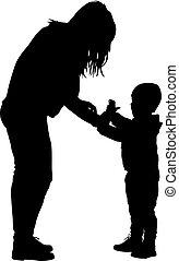 gezin, illustratie, achtergrond., silhouettes, vector, black , witte