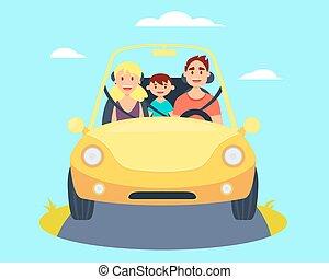 gezin, in auto