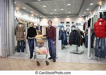 gezin, in, de winkel van kleren