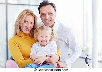 gezin, in, dentaal, kliniek