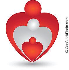 gezin, in, een, hart gedaante, logo, vector