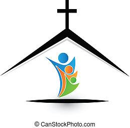 gezin, in, kerk, logo