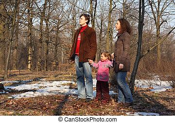 gezin, in, lente, hout