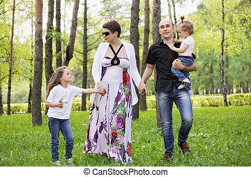 gezin, in park
