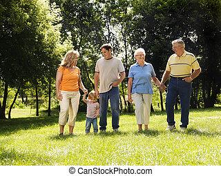 gezin, in, park.