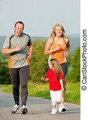gezin, jogging, buitenshuis
