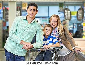 gezin, jonge, winkel